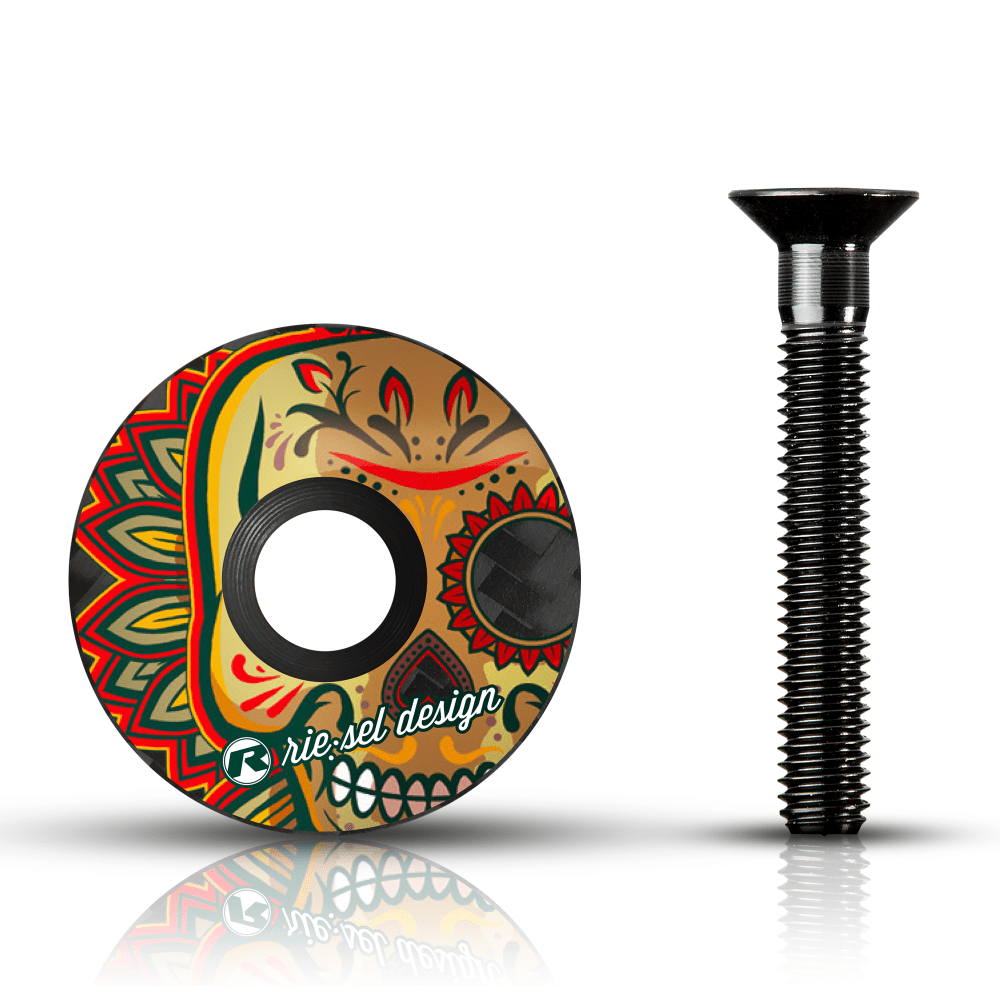 - Karbonski pokrovček krmilnega ležaja Riesel Design Stemcap Los Muertos - OPTIBIKE