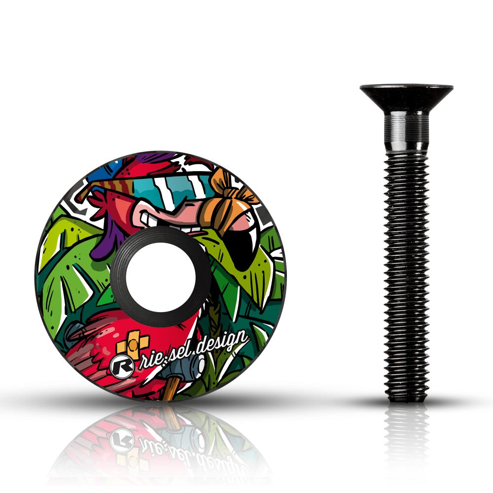 - Karbonski pokrovček krmilnega ležaja Riesel Design Stemcap Flowmingo - OPTIBIKE