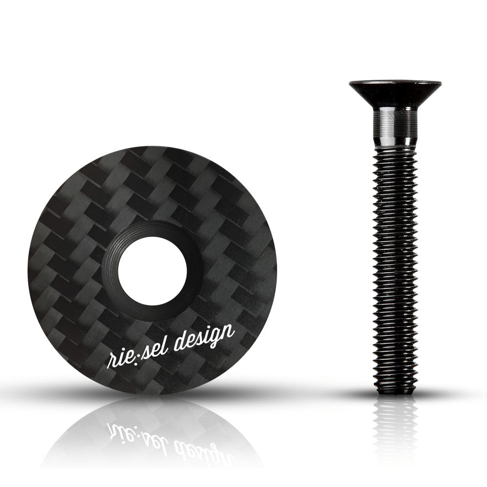 - Karbonski pokrovček krmilnega ležaja Riesel Design Stemcap Stealth - OPTIBIKE